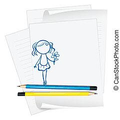 ragazza, presa a terra, disegno, fiore carta