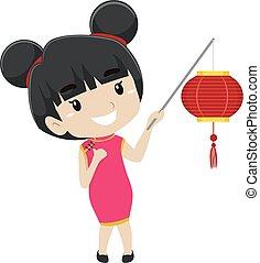 ragazza, presa a terra, lanterna cinese