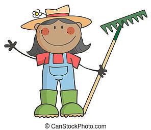 ragazza, presa a terra, nero, contadino, rastrello