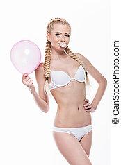 ragazza, proposta, biancheria intima, sopra, bolla, gum., fondo, isolato, biondo, standing, balloon, rosa, bello, bianco