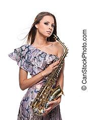 ragazza, proposta, vento, capelli, sopra, sexy, fondo, saxophone., isolato, biondo, ondeggiare, lungo, bianco