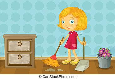 ragazza, pulizia, stanza