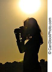 ragazza, riprese, silhouette, tempo