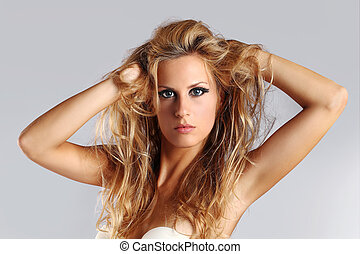 ragazza, ritratto, capelli, lungo