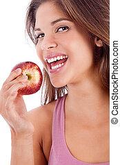 ragazza, ritratto, sano, mela, sorridente