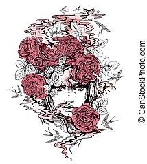 ragazza, rose, colori