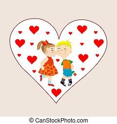 ragazza, scheda, ragazzo, baciare, valentines