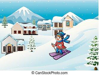 ragazza, sciare, collina, cartone animato, nevoso