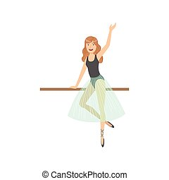 ragazza, sciolto, balletto, capelli, classe, polo, ballo, esercitarsi