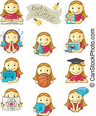ragazza scuola, icone