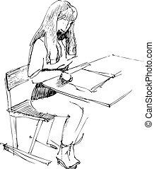 ragazza, scuola, scrivania
