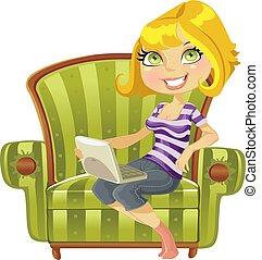 ragazza, sedia, verde, biondo, carino, laptop