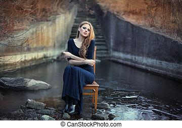 ragazza, sensuale, sedia, seduta, ghiaccio, bello