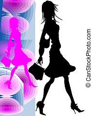 ragazza, shoping, silhouette