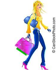ragazza, shopping, bello