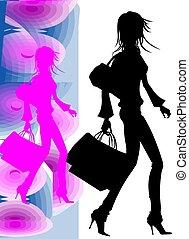 ragazza, shoppinh