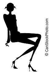 ragazza, silhouette