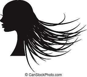 ragazza, silhouette, con, lungo, fluente, hair.