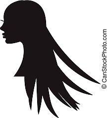 ragazza, silhouette, con, lungo, hair.