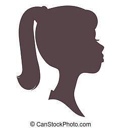 ragazza, silhouette, faccia
