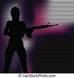 ragazza, silhouette, fucile