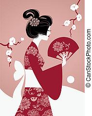 ragazza, silhouette, giapponese