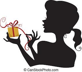 ragazza, silhouette, presa a terra, regalo