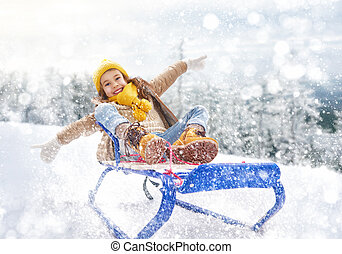 ragazza, sledding, bambino