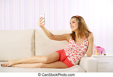 ragazza, smartphone, attraente