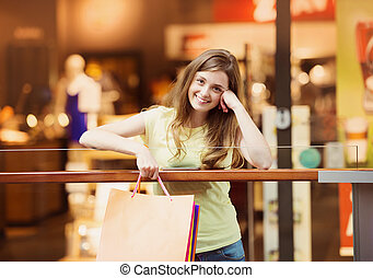 ragazza, smartphone, shopping