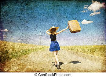 ragazza, solitario, valigia, paese, road.