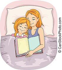 ragazza, sonno, capretto, letto, mamma, libro