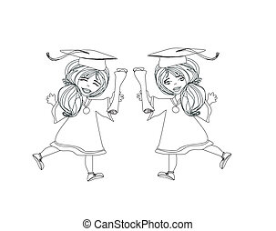 ragazza sorridente, festeggiare, giorno graduazione, presa a terra, diploma, in, lei, h