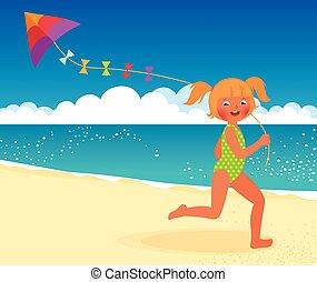 ragazza, spiaggia, aquilone, runni