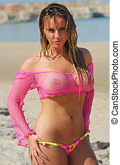 ragazza, spiaggia, sexy