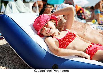 ragazza, spiaggia, sorridente