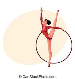 ragazza, standing, in, verticale, gamba, divisione, ginnastiche ritmiche, con, cerchio