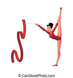 ragazza, standing, in, verticale, gamba, divisione, ginnastiche ritmiche, con, nastro