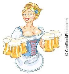 ragazza, su, perno, tazze, birra, carino