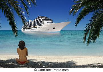 ragazza, su, spiaggia tropicale
