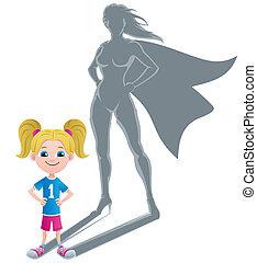 ragazza, superheroine, concetto, 2