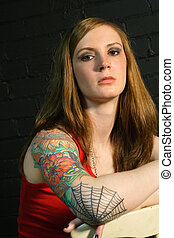 ragazza, tatuaggio, 2