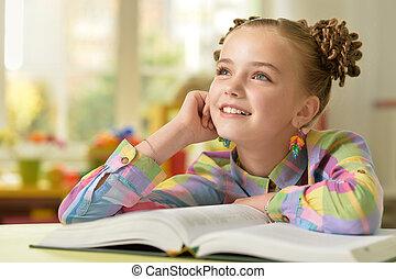 ragazza, tavola, libro, lettura