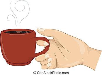 ragazza, tazza, caffè, mano, caldo, presa a terra