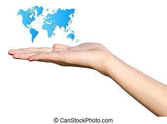 ragazza, titolo portafoglio mano, blu, mappa mondo