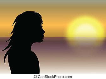 ragazza, tramonto