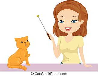 ragazza, treno, illustrazione, gatto