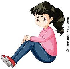 ragazza, triste, adolescente, seduta