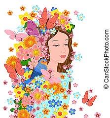 ragazza, tuo, occhi chiusero, fiori, lei, disegno, moda