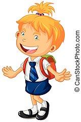 ragazza, uniform scuola